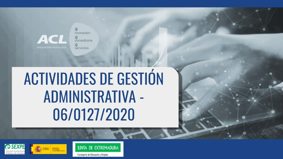 06/0127/2020 Actividades de gestión administrativa
